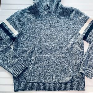 Old Navy Blue heathered Stripe Sleeve Sweater
